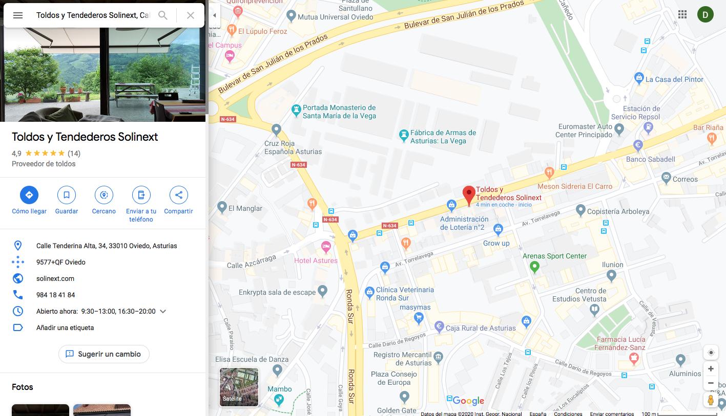MAPA SOLINEXT tienda de toldos y tendederos en oviedo